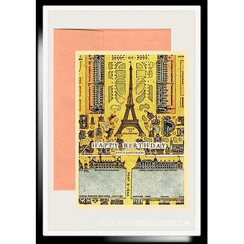 Happy Anniversary Eiffel Tower Folded Greeting Card