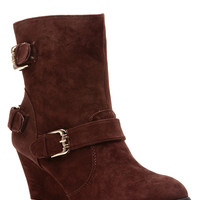 Dark Brown Faux Suede Gold Accent Ankle Wedge Booties