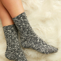 Two Tone Cable Knit Socks - Black