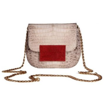 Circle & Square | Natural/Red Rimini Crocodile Clutch