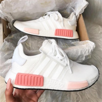 "shosouvenir : ""Adidas"" NMD Fashion Sneakers Trending Running Sports Shoes Whtie-pink"