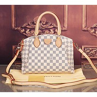 LV Louis Vuitton Fashion Women Shopping Bag Handbag Shoulder Bag Crossbody Satchel White Tartan