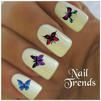 Butterfly Nail Decal. 20 Vinyl Stickers Nail Art