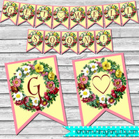 Get Well Soon Banner - DIY Printable Banner – Floral Hospital Decor – Suurgery Recovery –  Pink  Vintage Floral Banner - INSTANT DOWNLOAD