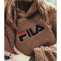 FILA Fashion Casual Long Sleeve To Keep Warm Lambs wool Hoodie Pullover Sweater G