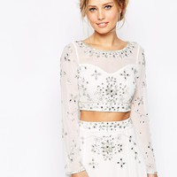 Frock and Frill Embellished Long Sleeve Crop Top