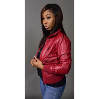 Rossi Moto Vegan Leather Jacket in Wine