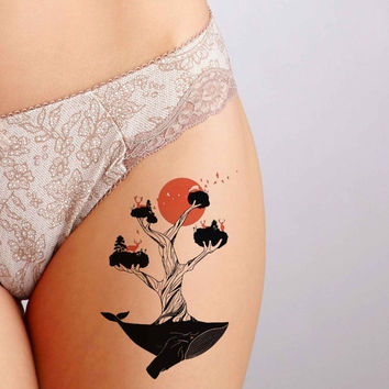 Whale Tree Tattoo,Fashion Tattoo,Wedding invitation,Wedding Gift