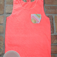 Neon Red Orange Comfort Colors Tank with Moroccan Fabric Pocket