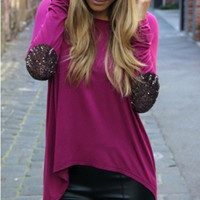 Purple Long Sleeve Sequined Elbow Patch Asymmetrical Top