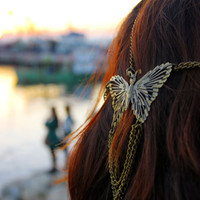 Lucky Butterfly Multistrand Antique Bronze Chain Headdress, Headchain, Headpiece, Bridal Gypsy Boho Hippie Bohemian