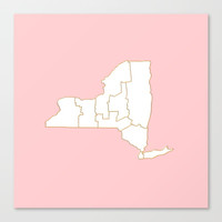 Pink New York map Canvas Print by annago