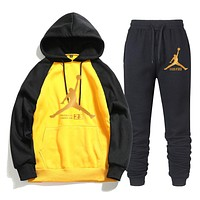 Jordan New fashion letter people print couple hooded long sleeve sweater and pants two piece suit