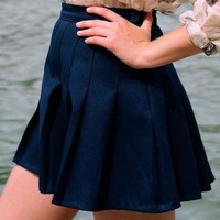 Candy Color Hip Pleated Mini Skirt