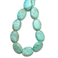 """NG2622f Teal Blue-Green Turquoise 16x12mm Flat Oval Magnesite Gemstone Beads 15"""""""