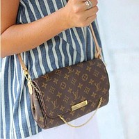 LV Louis Vuitton Trending Women Shopping Logo Print Buckle Leather Metal Chain Crossbody Satchel Shoulder Bag