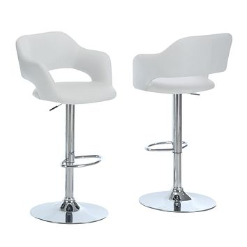 """Bar Stools For Sale - 21"""" x 22'.5"""" x 36"""" White, Foam, Metal, Leather-Look - Barstool"""