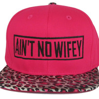 Pink Red AIN'T NO WIFEY Leopard Cheetah Animal Print Snap Back Hat