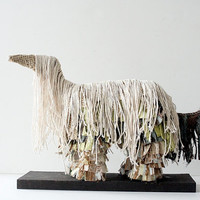 Mixed Media Dog Sculpture - The Shaggy Dog - Whimsical Home Decor, Dog Art, For Pet Lovers, Fabric Art