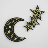 Moon & Stars – Set of 2 Embroidered Patches / Iron-On Applique – Black with Metallic Gold, Silver - Celestial
