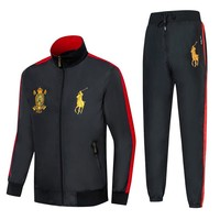 Polo Ralph Lauren 2018 new men's badge embroidery running sportswear two-piece Black