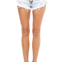 Distressed Light Denim High Waisted Shorts