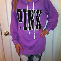 VICTORIA'S SECRET LOVE PINK LAVENDER PULLOVER BOYFRIEND FLEECE HOODIE JACKET XS