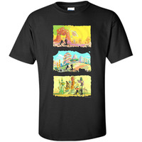 Rick & Morty Running Silhouettes on Alien Land shirt