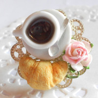 Breakfast time ring - Coffee and croissant - handmade miniature polymer clay food jewelry