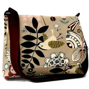 Women's Messenger Bag Fabric Purse - Tan with Funky Black and Brown Birds and Flowers
