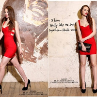 Sexy Women Sleeveless Bandage Backless Low-cut Cocktail Party Bodycon Mini Dress = 5738480833