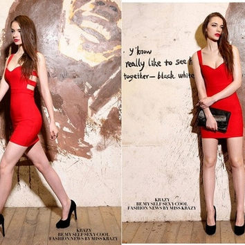 Sexy Women Sleeveless Bandage Backless Low-cut Cocktail Party Bodycon Mini Dress = 1956591428