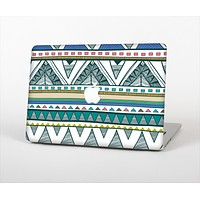 The Abstract Blue and Green Triangle Aztec Skin for the Apple MacBook Pro 15""