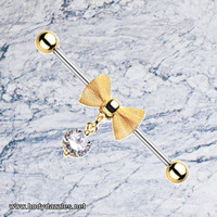 Gold Mesh Bow-Tie Industrial Barbell 14ga Scaffold Piercing Barbell