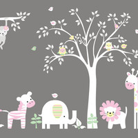 """Nursery Wall Decals, White Tree Stickers, Nursery Jungle Decals, White Colors Theme Murals, Girls Themed Wall Decals - 84"""" x 127"""""""
