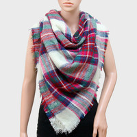 Plaid Check Knit Fringed Trim Blanket Scarf - Cream & Pink