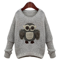 3D Owl Embroidered Long Sleeve Sweater