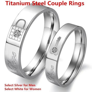Fashion titanium stainless steel lovers ring crystals promise Key and Lock couple rings = 1930132868