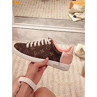 LV tide brand female old flower color matching lace-up shoes sneakers pink