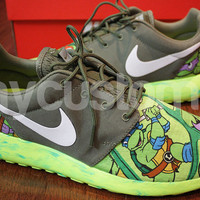 Nike Roshe Run Olive Green Marble Turtle Cartoon V5 Edition Custom