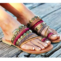 Hot Selling Handmade Bohemian Flat-soled Sandals for Women Shoes Size 40-42