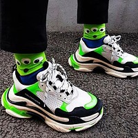 BALENCIAGA Triple S High Quality Women Contrast Color Shoes Sport Sneakers