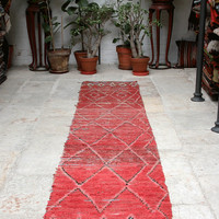 RESERVED Rolling Red Runner - Red, fringes, light blue, yellow and pink -  Handmade in Morocco - 70x338 cm / 27x150 inch