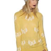 Wildfox Couture French Bows Party Sweater Duckling