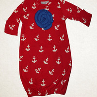 Anchor Away Newborn Infant Baby Girl Gown