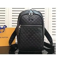 Louis Vuitton LV Fashion Backpack with Black Checker and Double Zippers for Men and Women High-quality