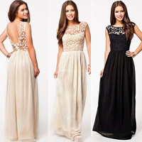 Women's Elegant Backless Bridesmaids Dresses Hollow Out Lace Long Maxi Evening Dress = 1931673988