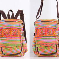 Hippie Traditional Hand Stitched Cross Body Bag, Backpack Hmong Floral Embroidered Spring Day Bag