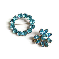Aqua Blue Rhinestone Brooches or Scatter Pins Set of 2 Vintage 1950s Circle & Flower