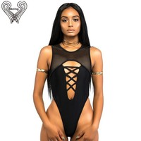 Thong One Piece Swimsuit Women Swimwear 2018 Mesh Bodysuit High Cut Monokini Swimming Suit For Women Bathing Suit Beach Wear